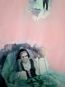Savolaistyttären häissä 2014, akvarelli ja akryyli, 57 cm x 77 cm