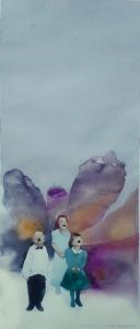 Esitys 2014, akvarelli ja akryyli 28 cm x 65 cm