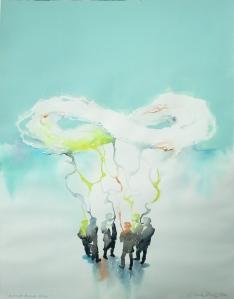 Henkoset ikuiselle liitolle 2014, akvarelli ja akryyli, 50 cm x 64 cm