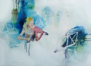 Jännitys 2014, akvarelli 77 cm x 57 cm